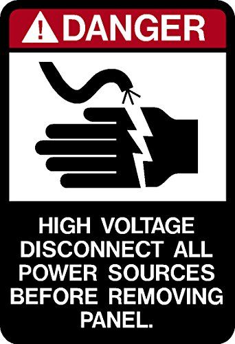 Danger High Voltage Disconnect All Power Sources Before Removing Panel Decal Sticker Placard 2 5 W X 5 H Imakedecalsfor Power Source How To Remove High Voltage
