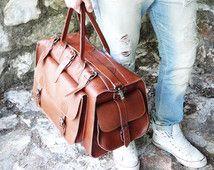 "Apollo Weekender Leather Bag / 20"" Handmade / Full Grain in Tobacco or Dark Brown Color Greek Leather / Travel Duffel Bag"