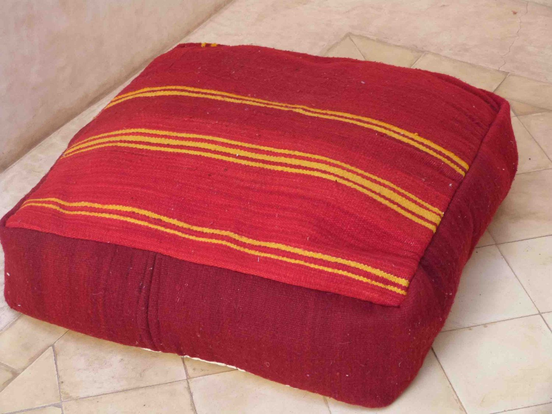 Red Yellow Moroccan pouf, Berber pouf,vintage pouf