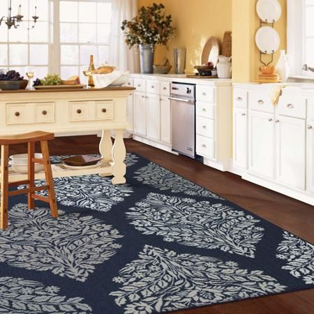 Mohawk Home Indigo Block Print Printed Area Rug Blue 119