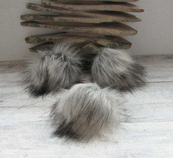 Vegan Silver Fox Faux Fur Pom Poms  Hat Pompoms Faux