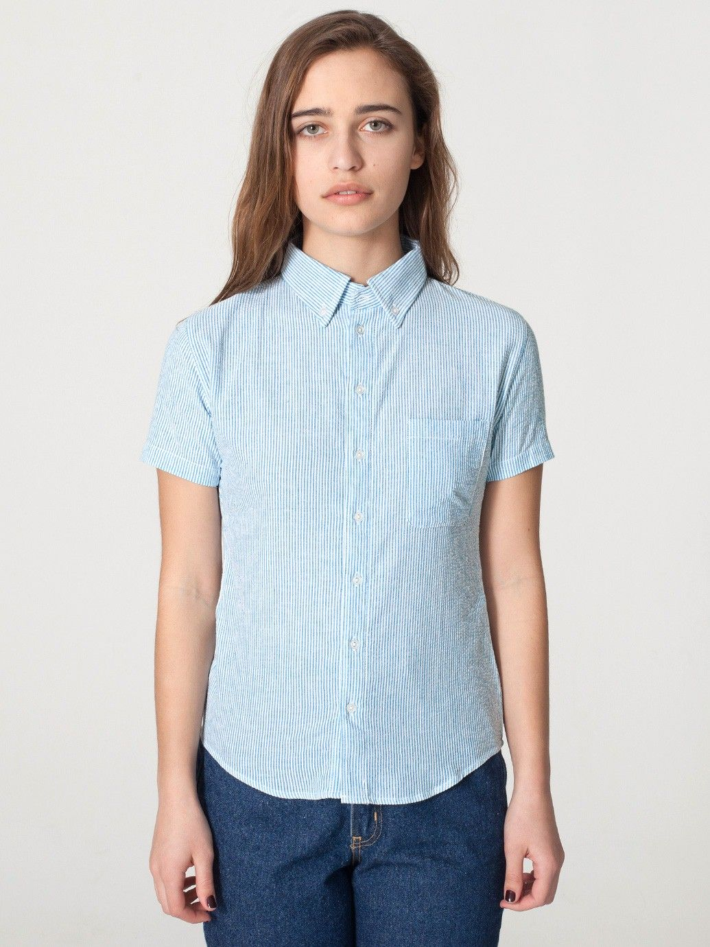 Unisex Seersucker Short Sleeve Button-Down Shirt ...