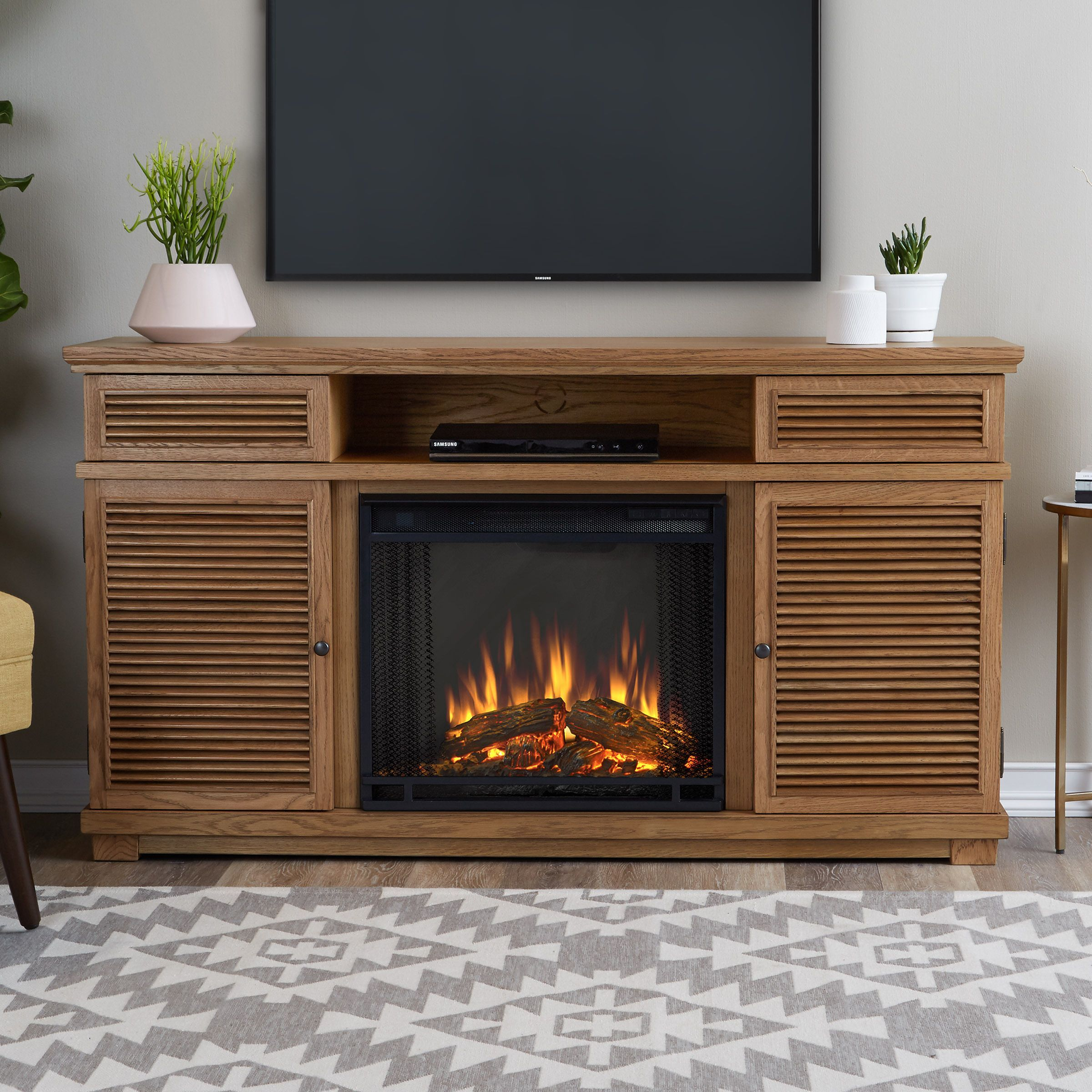 real flame cavallo elm finish electric fireplace entertainment