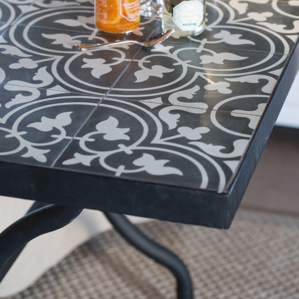 Mesa de comedor de metal y azulejo de cemento An 200 cm