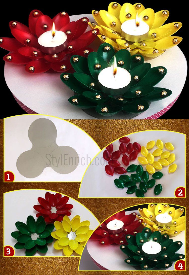 Diy Christmas Candle Holder Craft Using Plastic Spoons Holiday Diy