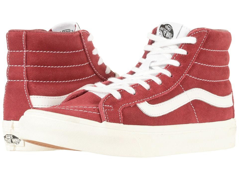 4d35d50843 Vans SK8-Hi Slim Skate Shoes (Retro Sport) Tibetan Red True White ...