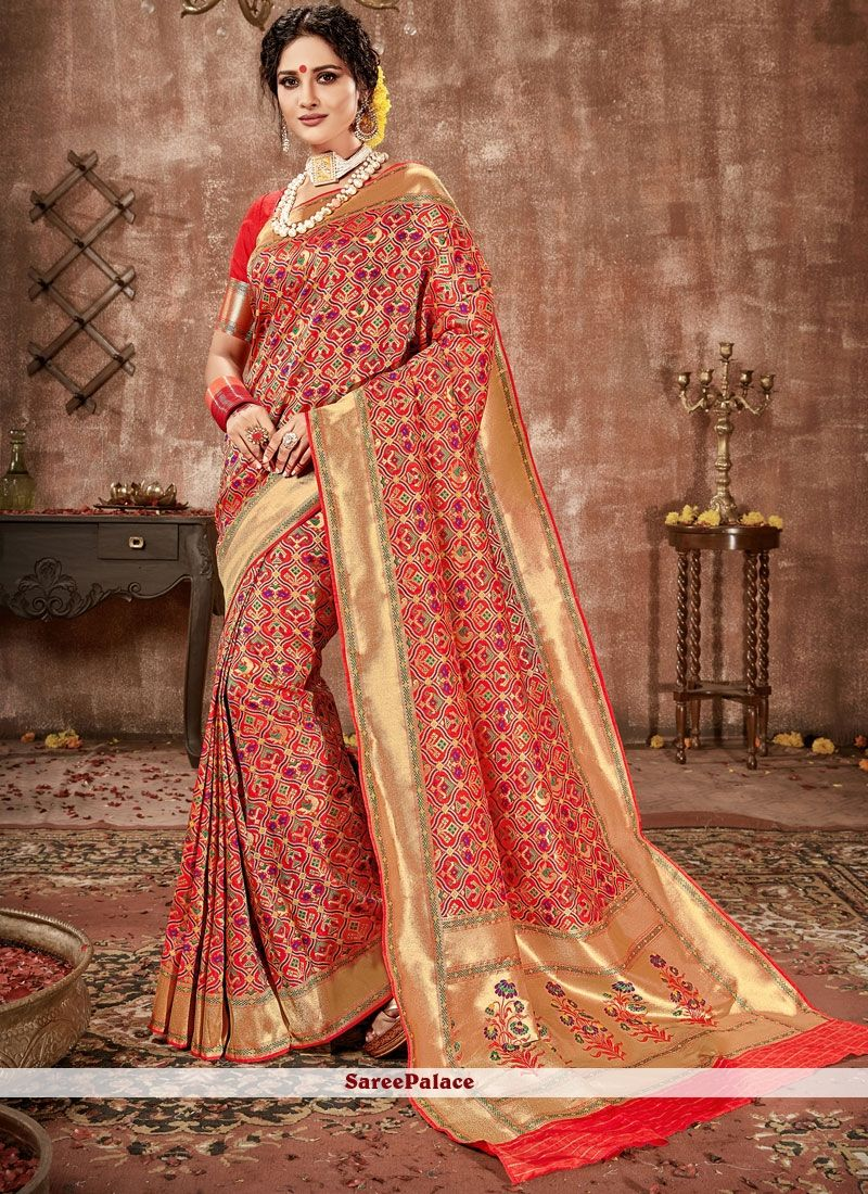 8a534cbff324 Banarasi Silk Red Designer Traditional Saree