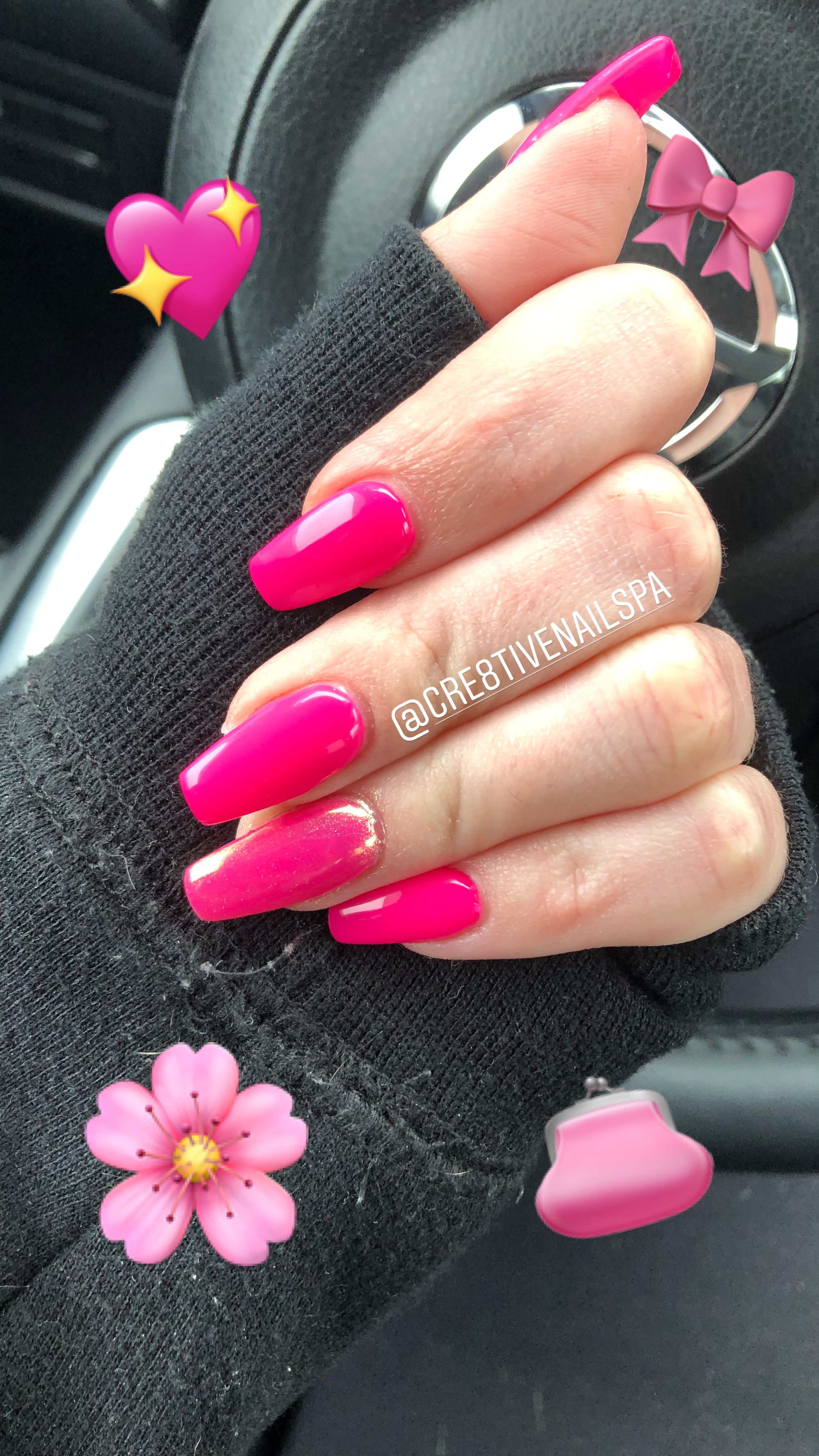 Neon Pink Acrylic Nails Short Coffin - NailsTip