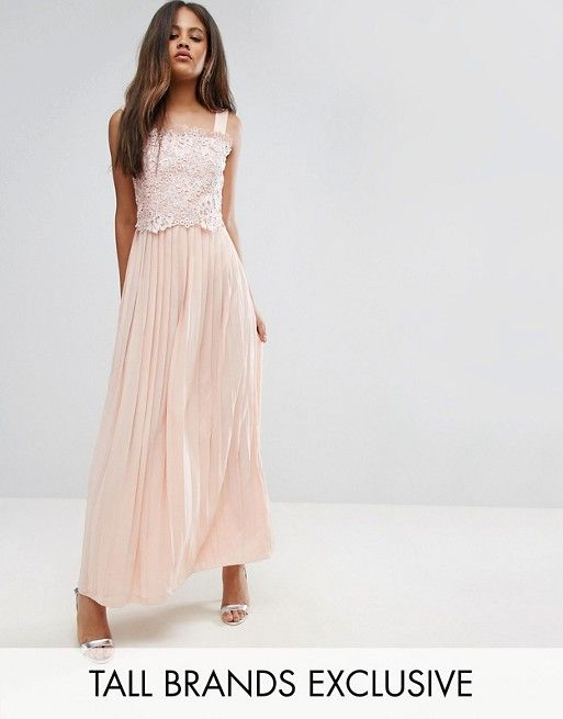 fc3348a4 Little Mistress Tall | Little Mistress Tall Premium Lace Top Maxi Dress  With Pleated Skirt