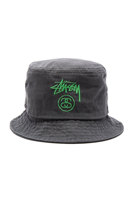0eba907be845f Stussy Stock Lock Pigment Dye Bucket Hat in Black