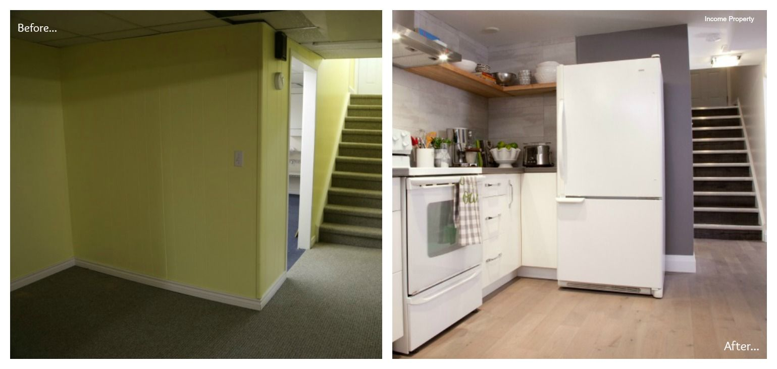 Basement Apartment Before And After. An empty basement corner becomes a brand new kitchen  Before and After from HGTV s Income Property property Basements Corner
