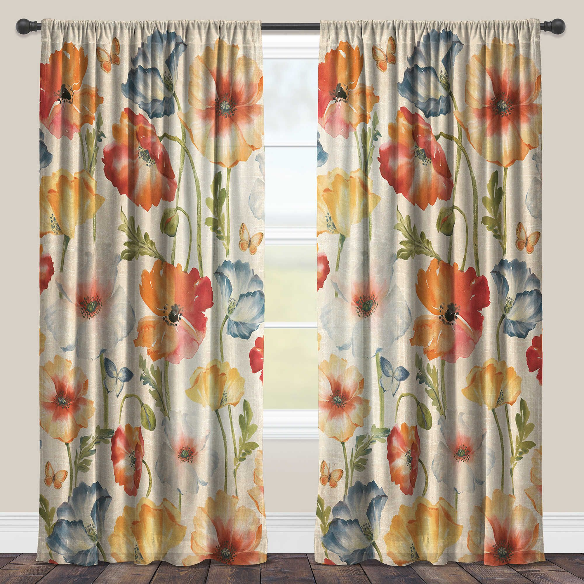 Laural Home Watercolor Poppies Rod Pocket Sheer Window Curtain