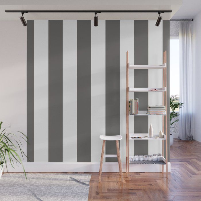 Ash Gray and White Vertical Cabana Tent Stripes Wall Mural by honorandobey