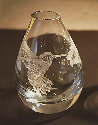 Hand Engraved Hummingbird Vase Engraved Hummingbird Etched Birds