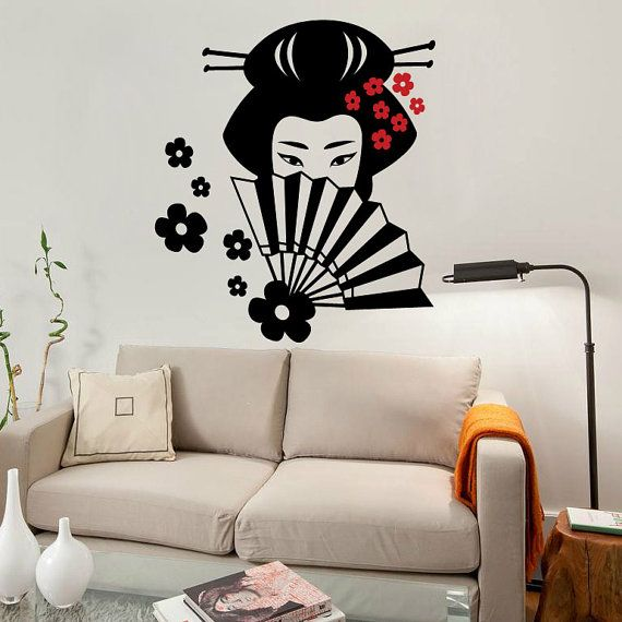 Japanese Geisha Wall Decal Cute Vinyl Sticker Home Arts Wall - Japanese wall decals