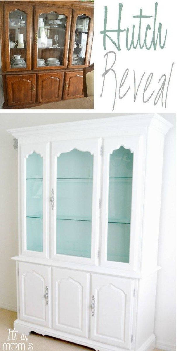 Most Beautiful Antique China Cabinet Makeover Ideas (20) - Furniture makeover, Refurbished furniture, Dining room hutch, Home, Furniture makeover diy, Redo furniture - Most Beautiful Antique China Cabinet Makeover Ideas (20)