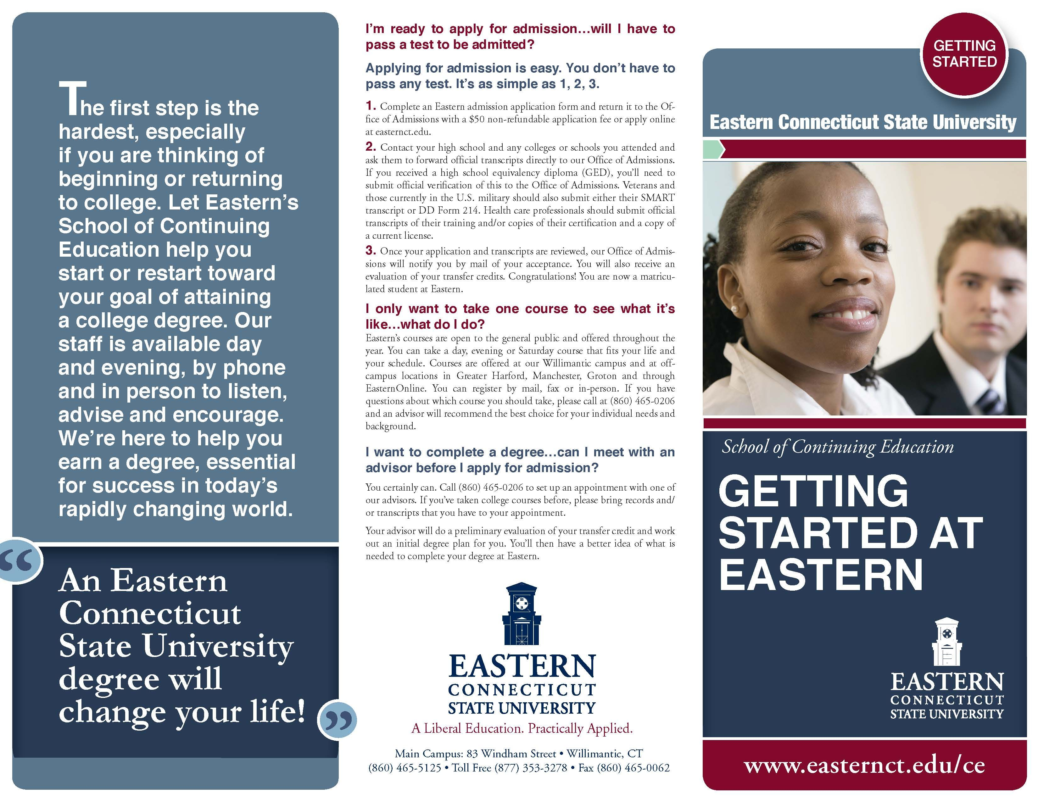 f6a1cc82521 ... in becoming a part-time student  Getting started is easy at Eastern  Connecticut State University. Have questions  Speak with an ECSU Continuing  Studies ...