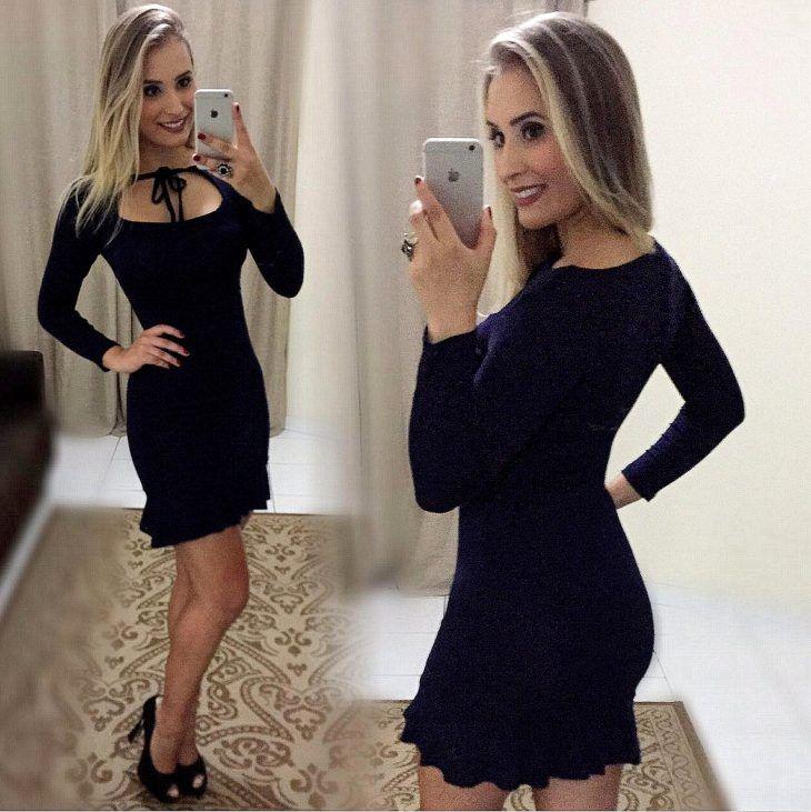 4ccd25559 Comprar vestido preto manga longa – Vestidos de noche con estilo 2018
