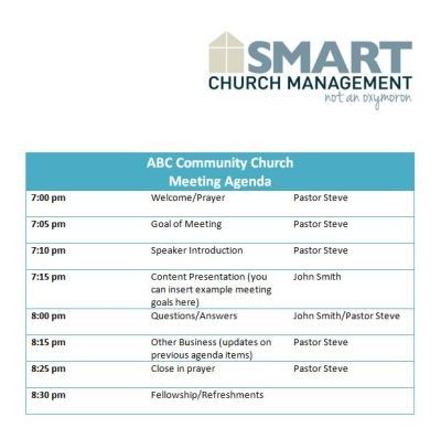 Church Business Meeting Agenda work Pinterest Churches, Form - agenda samples in word