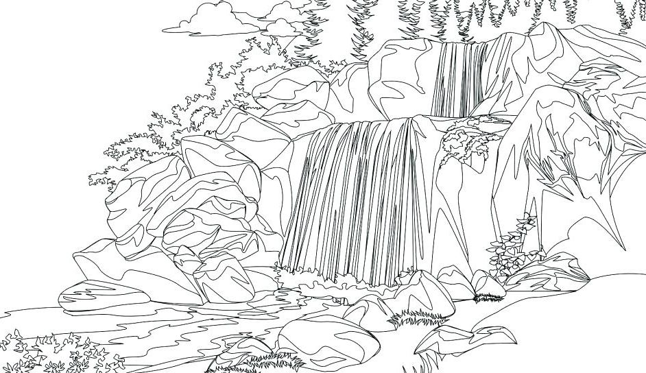 Waterfall Coloring Pages Fall Coloring Pages Adult Coloring