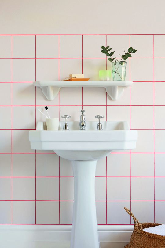 Create the illusion of tiles without the grouting nightmare by create the illusion of tiles without the grouting nightmare by creating a grid like pattern ppazfo