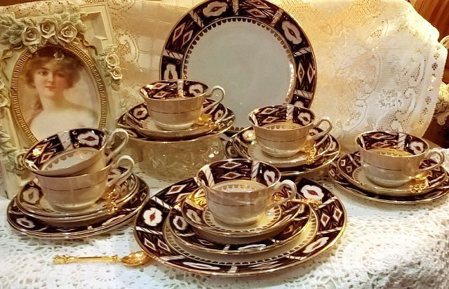 BEAUTIFUL ANTIQUE TILL & SON HAND PAINTED IMARI STYLE 20 PIECE TEA SET