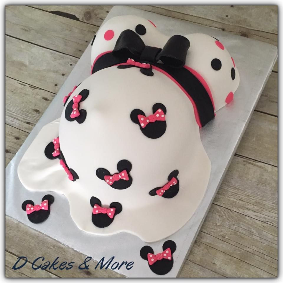 Minnie Mouse Baby Shower Belly cake D Cakes & More Cute Baby Shower Belly  Cake