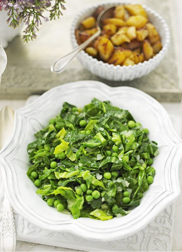 Peas with greens: We love frozen peas. For a quick and easy side dish, try this simple recipe of simmering shredded greens and peas in stock and white wine.