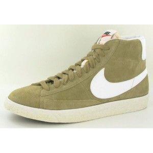 Nike Blazer High PRM Suede Vintage Homme Chaussures Beige Blanc ...