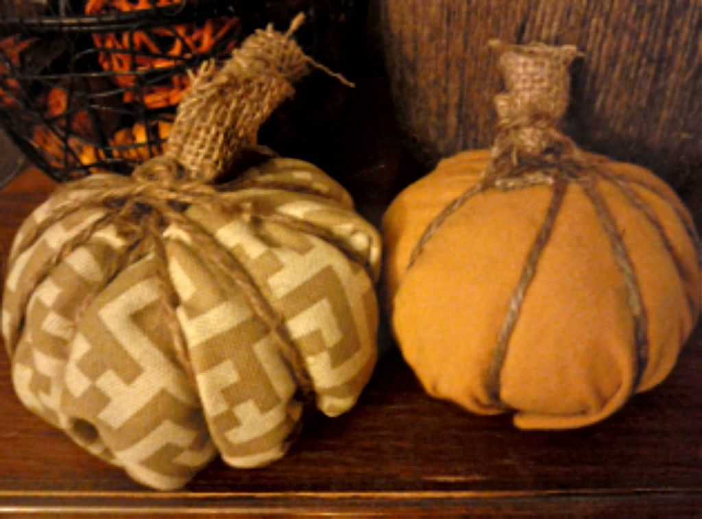 fabric pumpkins -- made out of wadded up plastic bags!