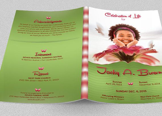 Child Funeral Program Template Is For Children Memorial Or Funeral  Services. The Vibrant Colors And