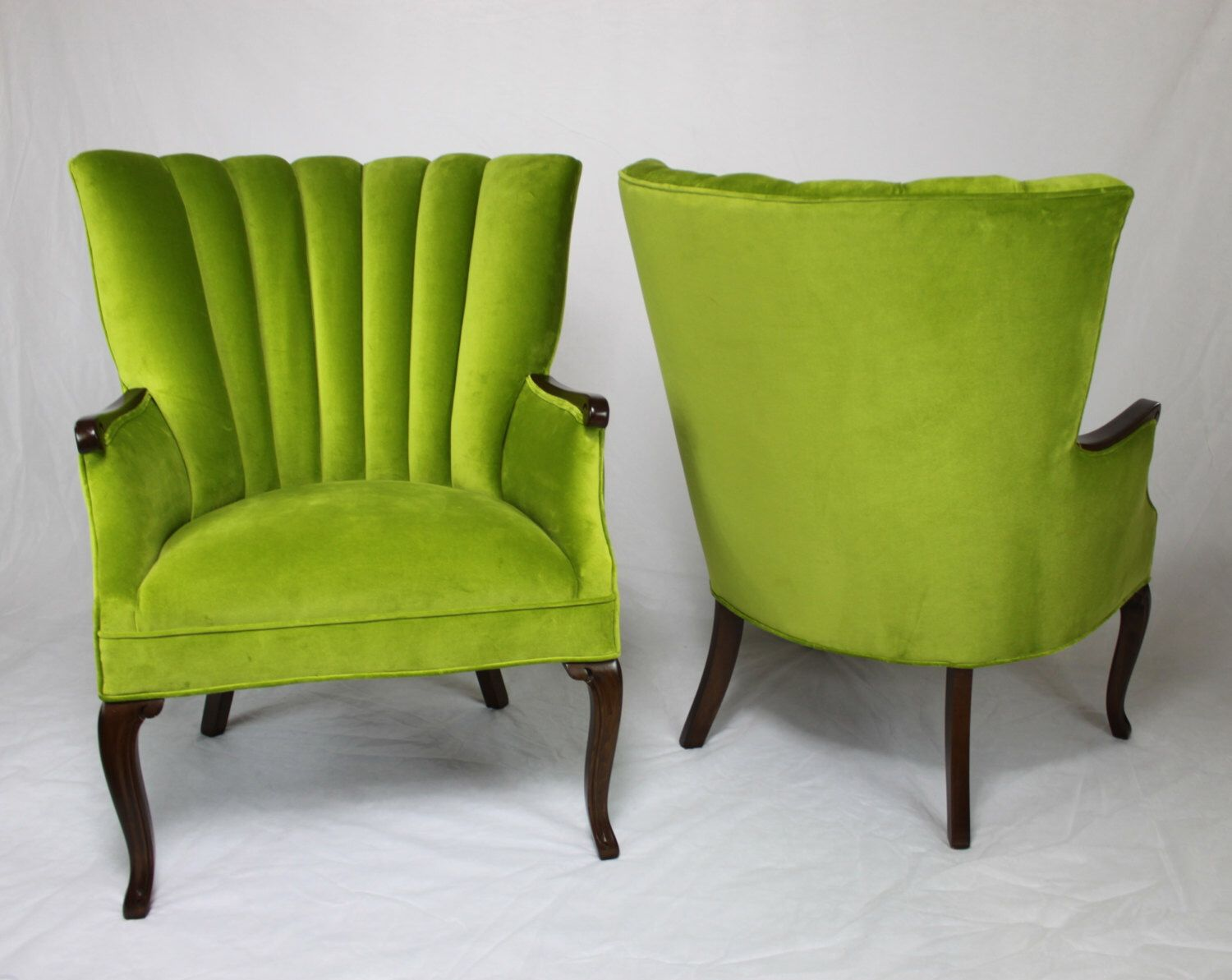 SOLD   Pair Of Vintage / Antique Channel Back Chairs In Apple Green Velvet  With Medium Brown Wood Lime Green Grass Green Bright Green Part 68