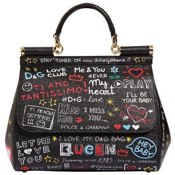 Dolce Gabbana Women Medium Sicily Graffiti Leather Bag 2 320 Liked On Polyvore Featuring Bags Handbags Shoulder Black Genuine