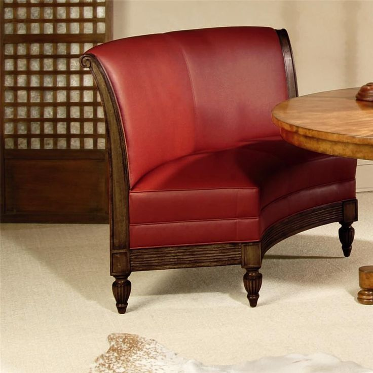 High Quality Red Leather Banquette Bench With Wood Legs For