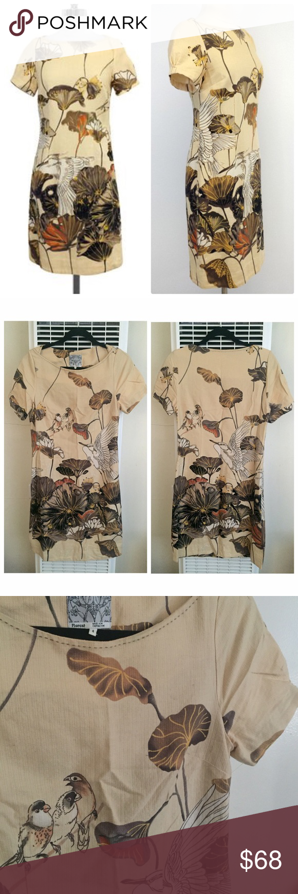 "Anthropologie FLOREAT SNOWY EGRET Shift Dress Product Description Size 4 Beige Floral Bird Print Dress(Missing Sash Belt) Body 100% Cotton Lining 100% Acetate Concealed side zip Short sleeves Measurements (Approx): Bust 34"" Waist 28"" Total length 36"" Anthropologie Dresses"