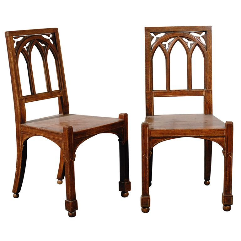 PAIR OF 19thC GOTHIC STYLE HALL CHAIRS | Gothic, Hall and ...