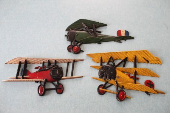 Set Of 3 Vintage Metal Airplanes Aeroplane Wall Decor Wwi Bi Plane Airplane Art Military