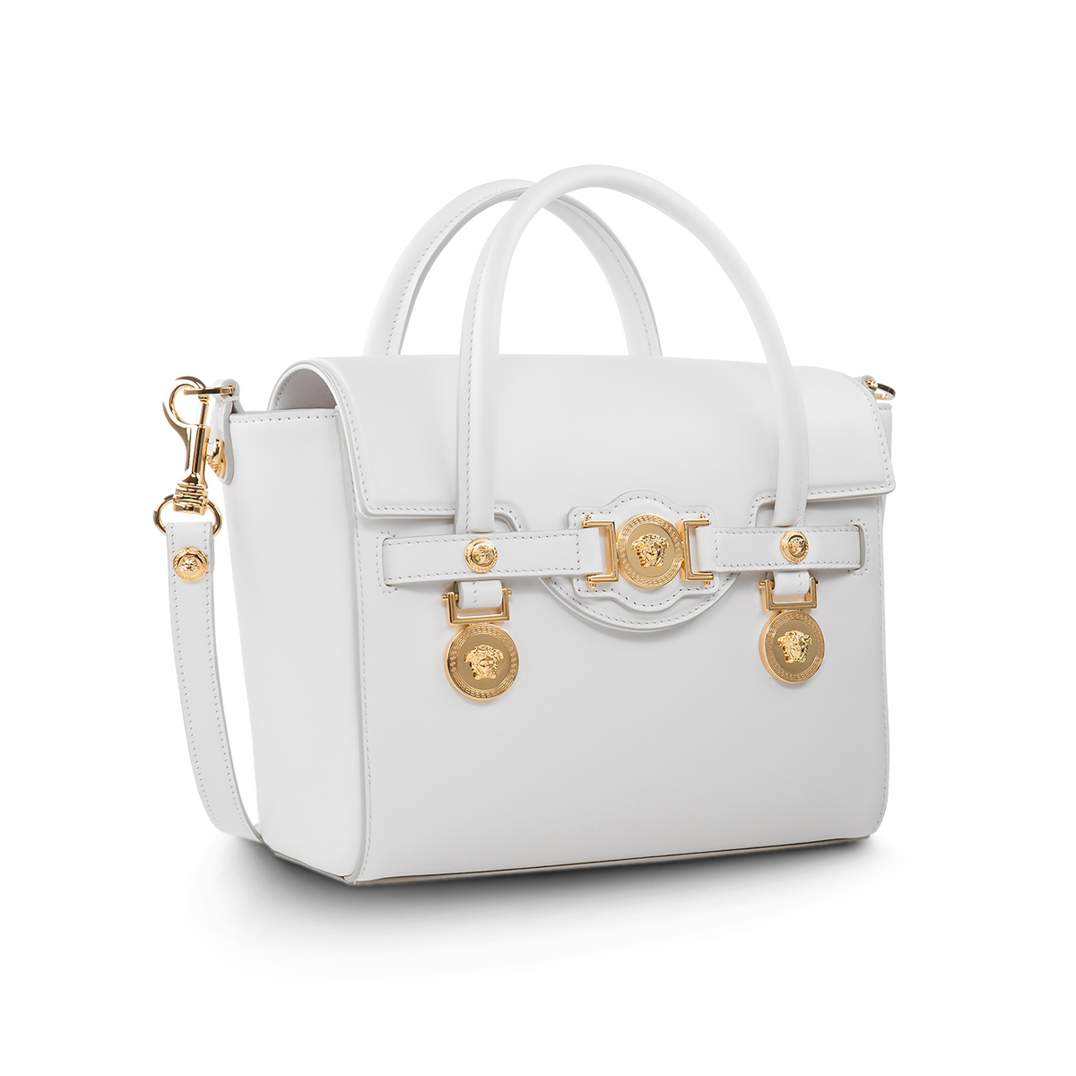 a864ac9fb8 Taking your from downtown to uptown -  Versace white Small Signature bag  with gold hardware. Discover more about the  VersaceSignatureBag on versace .com