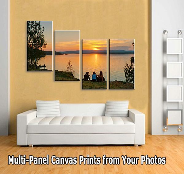 Split Your Photo To 4 Panels Wrapped Canvas Living Room
