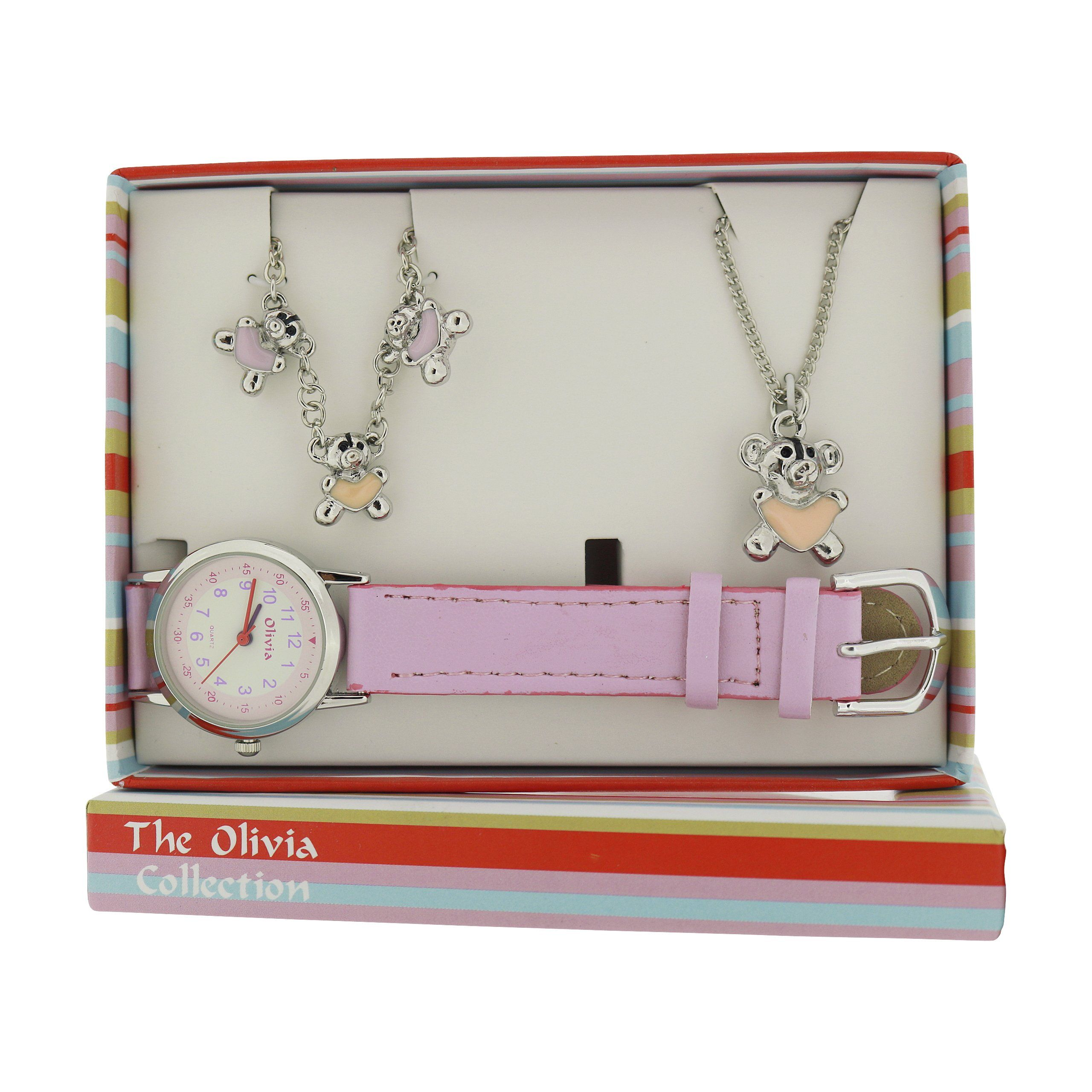 The olivia collection kids teddy bear watch u jewellery gift set for