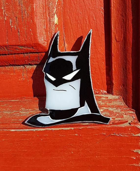Stained Glass Brooch Batman DC comics Glass Art