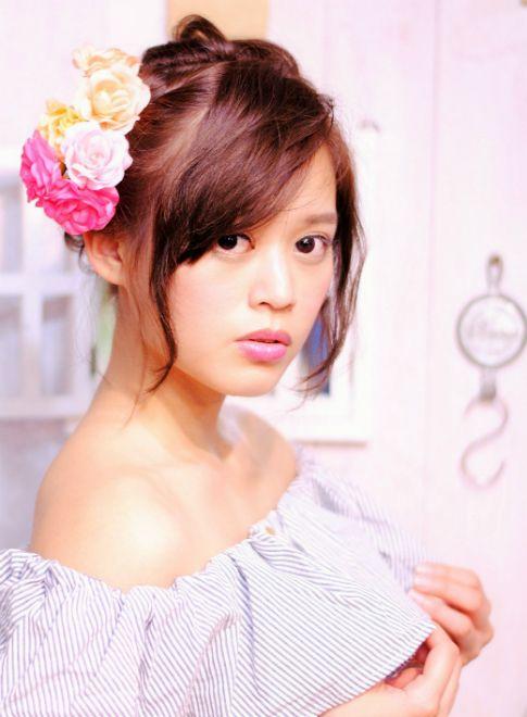 お花アレンジ 【レセ 新松戸駅前店】 http://beautynavi.woman.excite.co.jp/salon/19137?pint ≪ #arrange #hairstyle・アレンジ・ヘアスタイル・髪形・髪型≫