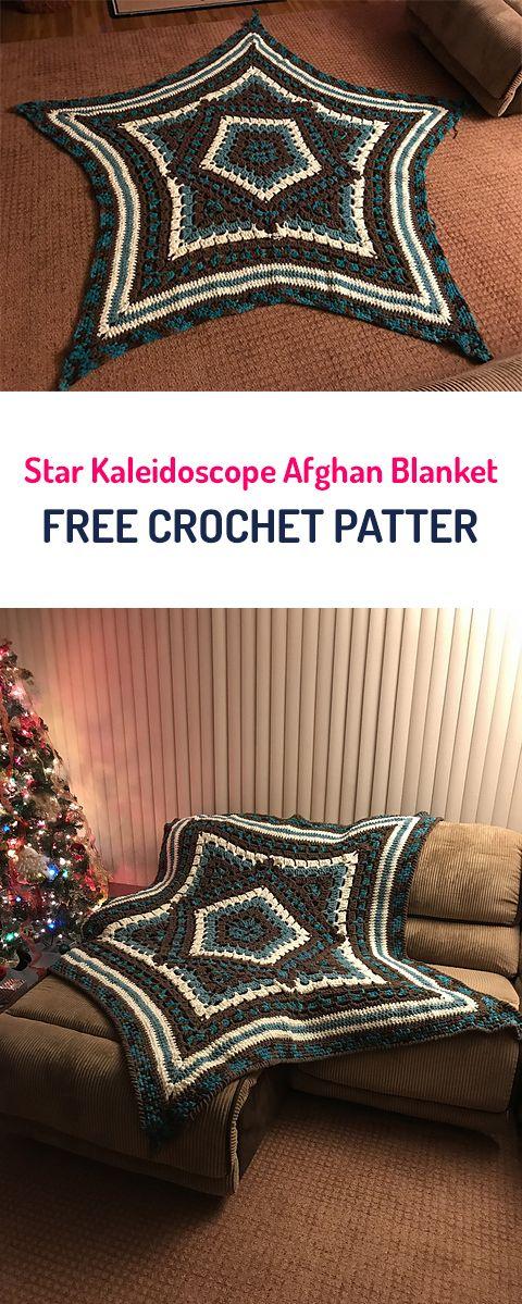 Star Kaleidoscope Afghan Blanket Free Crochet Pattern #crochet ...