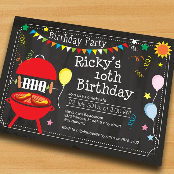 Bbq Birthday Invitation Chalkboard Bbq Kids Barbecue By Miprincess