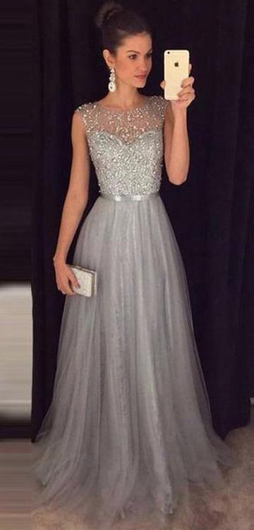 Silvery Grey Prom Dress, Evening Dress, Formal Dresses, Graduation School Party Dance Dress, DT0362 #eveningdresses