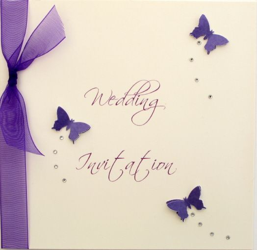Luxury handmade wedding invitation by CarolMillerDesignscouk – Butterfly Wedding Invite