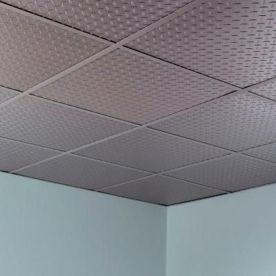 Fasade Diamond Plate - 2 ft. x 2 ft. Revealed Edge Lay-in Ceiling Tile in Argent Silver-L66-09 - The Home Depot