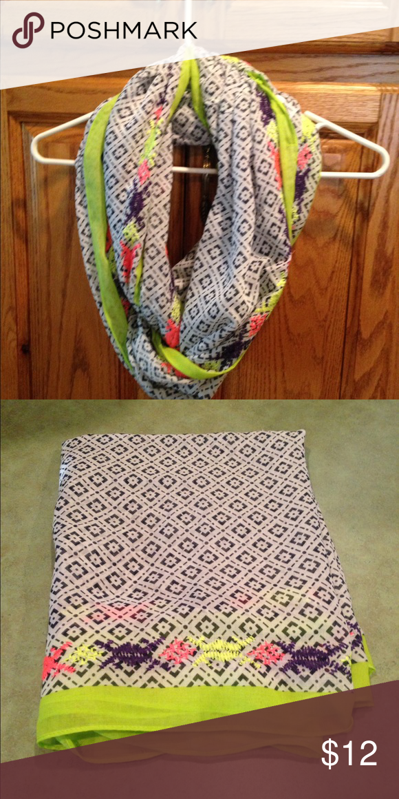 Infinity scarf Maurice's infinity scarf in navy, white, and fluorescent green and pink. Brand new. Never worn. Maurices Accessories Scarves & Wraps