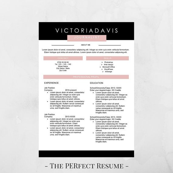 Resume Templates For Word 2013 Resume Template  4 Pages  Resume For Word  Instant Download