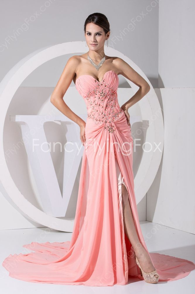 Exquisite Coral Chiffon Sweetheart Neckline A-line Full Length Celebrity Dresses With Pleated Bodice